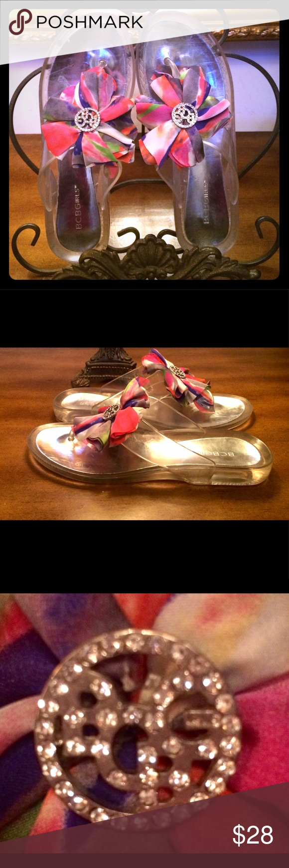 d4bb31d1a BCBG Sandals 8 Clear Rhinestone logo flower silk BCBG jelly Sandals.  Gorgeous