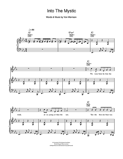 Into The Mystic Sheet Music By Van Morrison Piano Vocal Guitar