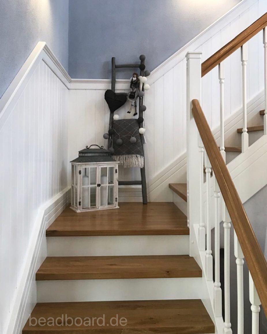 Treppenverkleidung Wandpaneele Wandvertafelung Holzpaneele Dekoliebe Landhausliving Inneneinrichtung Interiorde Stairs Wood Cladding Wooden Cladding