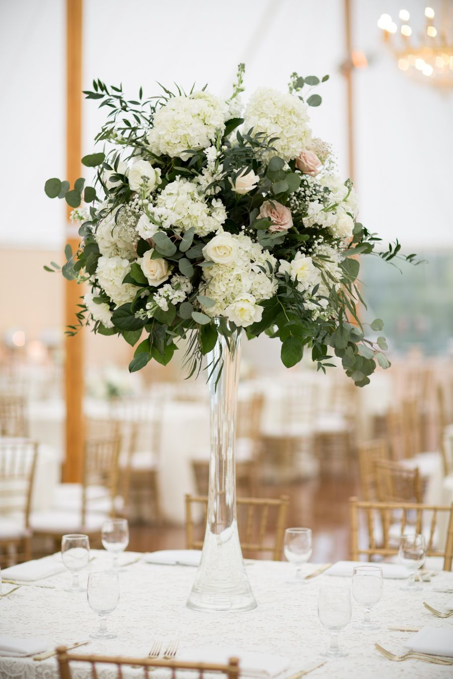 Tall eucalyptus rose and hydrangea centerpieces