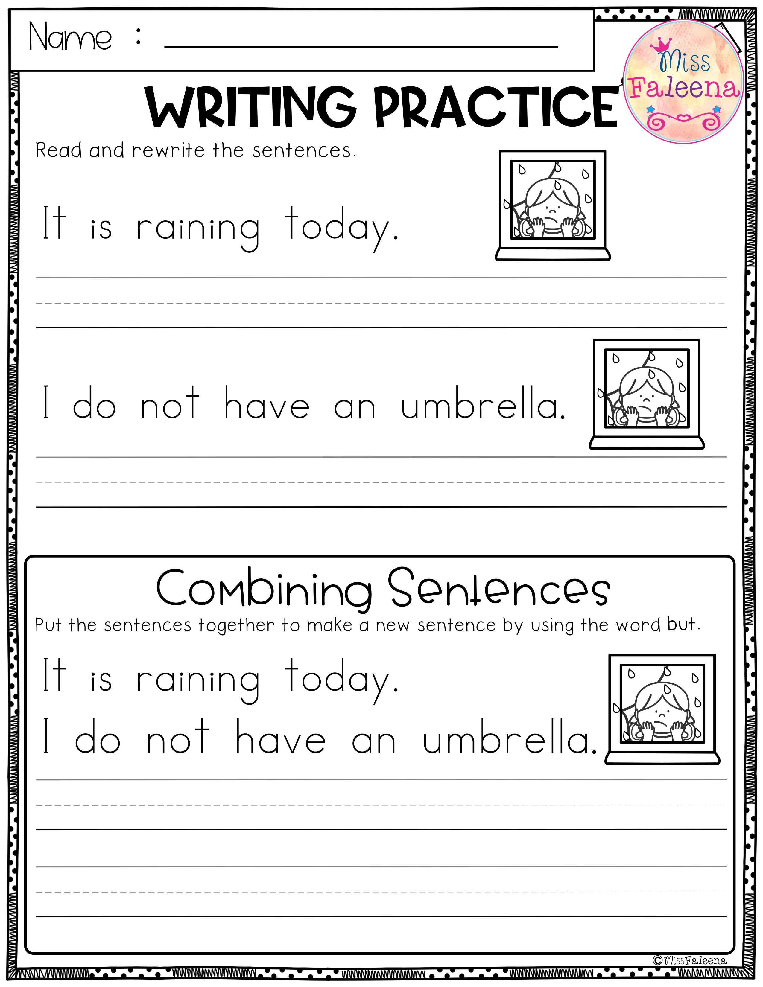 April Writing Practice Combining Sentences