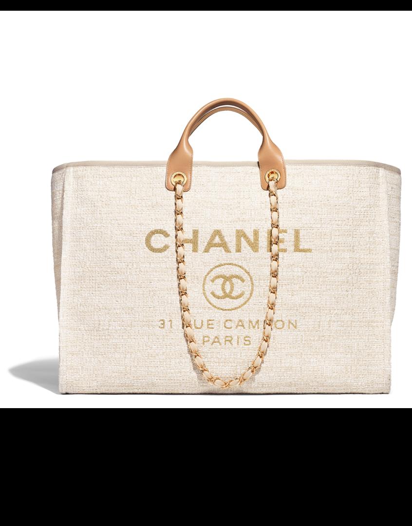 3726817d7 Bolsa grande, toile, couro de novilho & metal dourado-bege - CHANEL 38 x 52  x 21