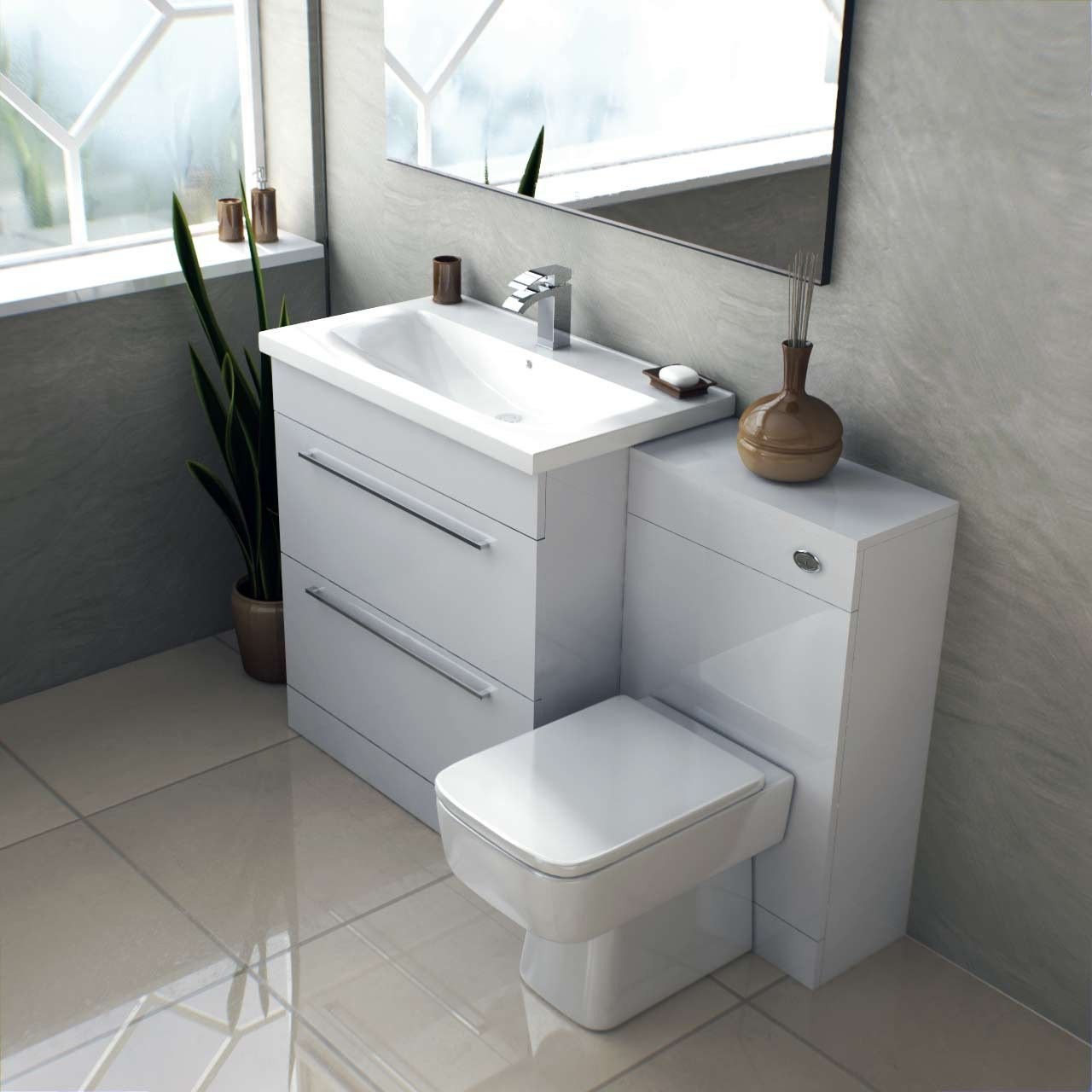 Napoli White Gloss 1300mm 2 Drawer Vanity Unit Toilet Suite