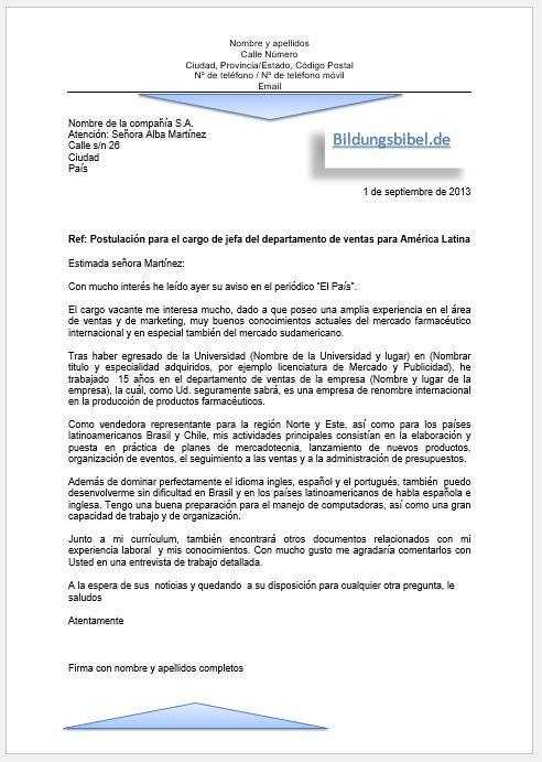 bewerbung spanisch bewerbungsschreiben vorlage und muster beispiel 2 carta de solicitud - Bewerbungde