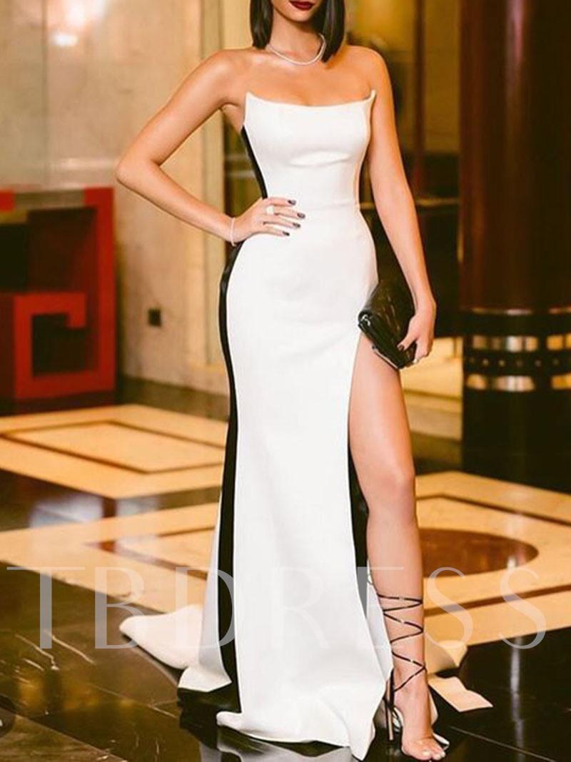 Strapless Sheath Split Front Formal Evening Dress 2019 Satin Evening Dresses Elegant Dresses For Women White Prom Dress Long [ 1068 x 800 Pixel ]