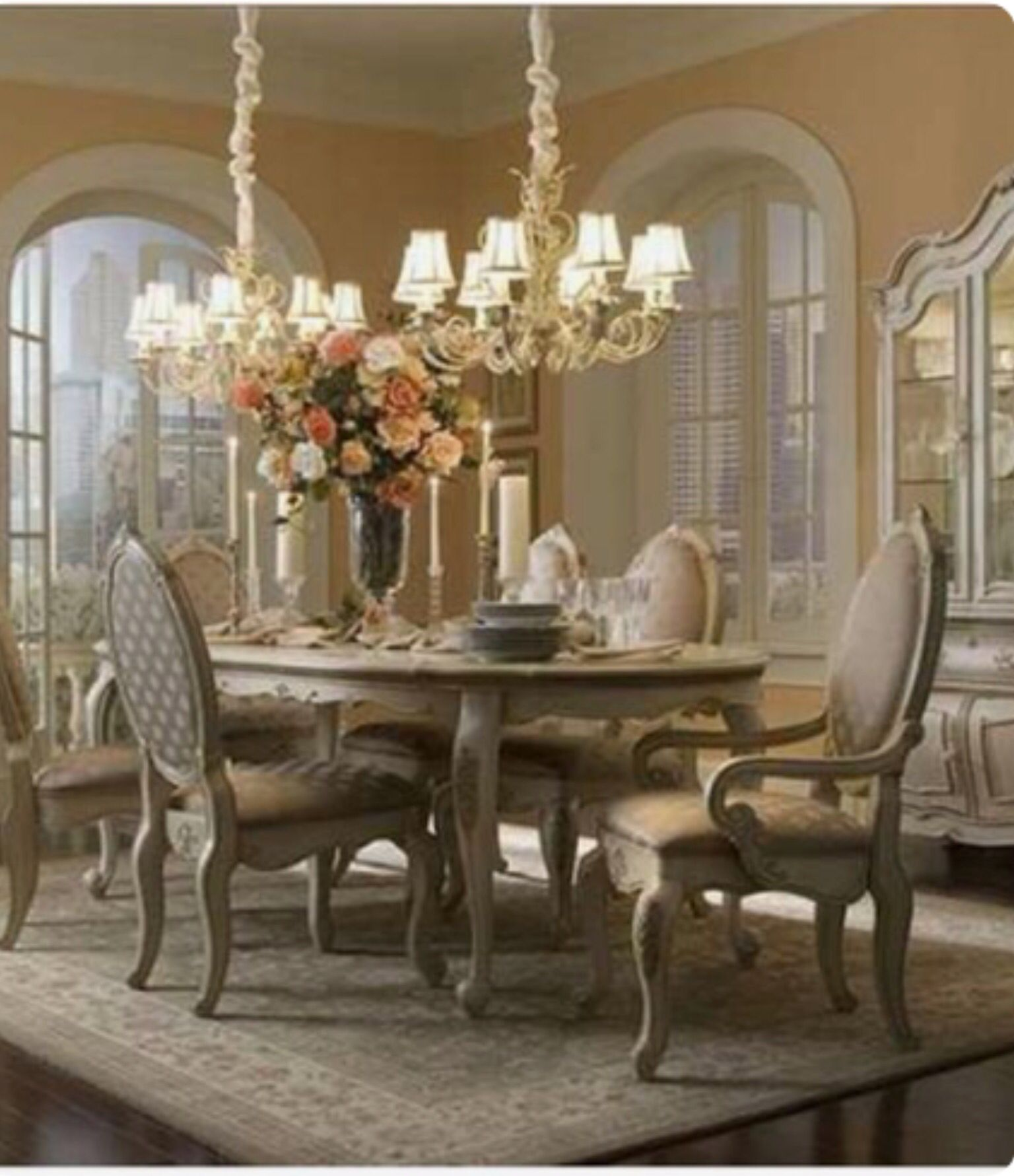 Classic French Country Dining White Dining Room Sets
