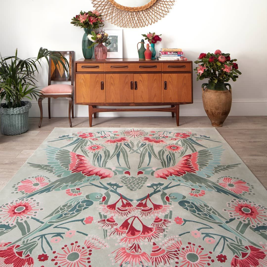 Designer Rugs On Instagram Focusing On Australian Flora And Fauna As Seen Through The Lens Of The Arts And Crafts Movement Gumnut Parad Rug Design Rugs Decor