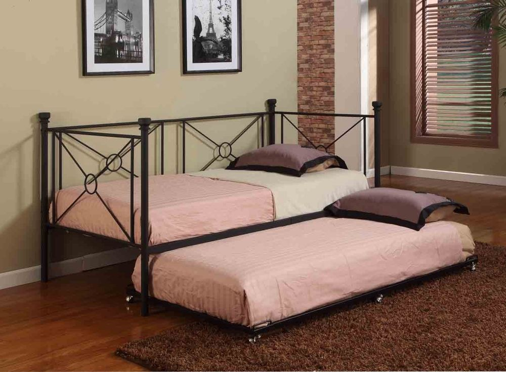 Texture Black Metal Twin Size Day Bed (Daybed) Frame With Rails ...