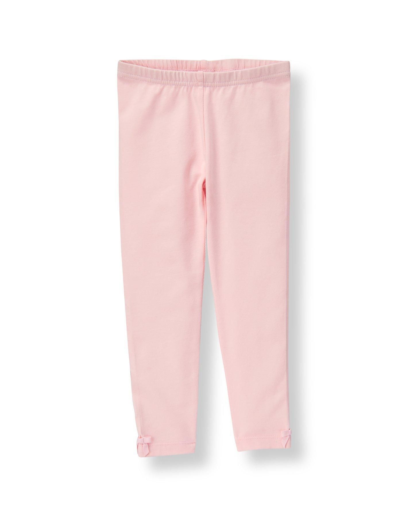 a4ee6fffff0ae Janie and Jack Pink legging grosgrain ribbon bow accents at the cuffs.