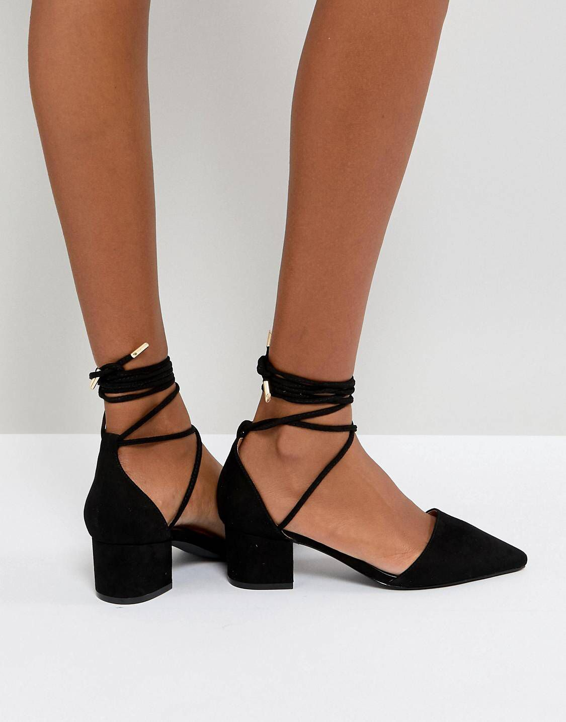 7b3be3fd1d5f RAID Lucky Black Ankle Tie Mid Heeled Shoes
