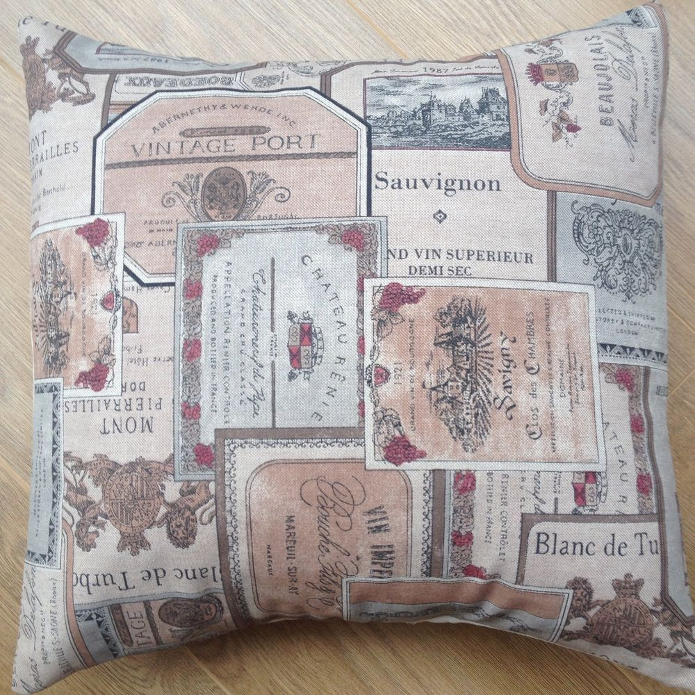 """Hand Made Vintage Red Wine /& Port Labels Scatter Cushion Cover 16/"""""""