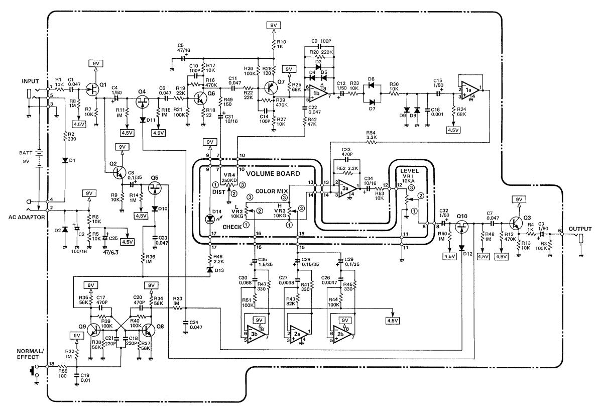 boss distortion pedal circuit diagram
