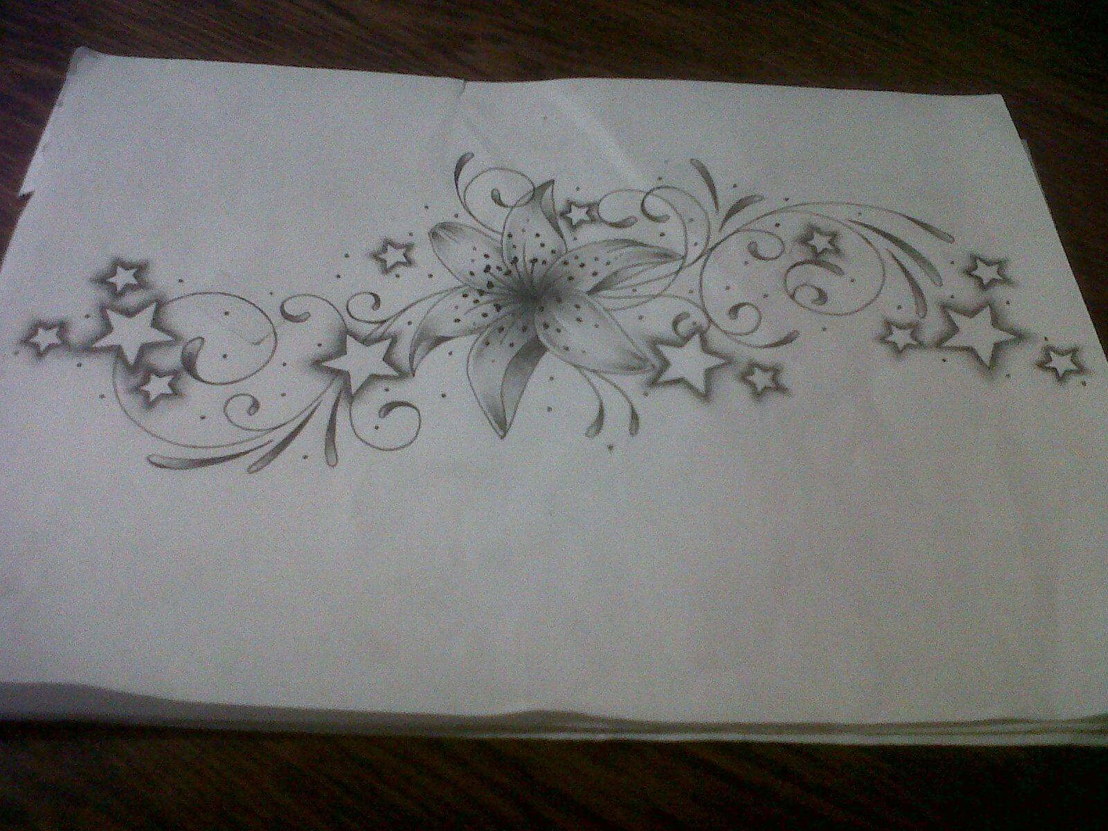 Butterfly star tattoo designs - Star Swirl Flower Tattoo Design Lily Tattoo Design With Swirls And