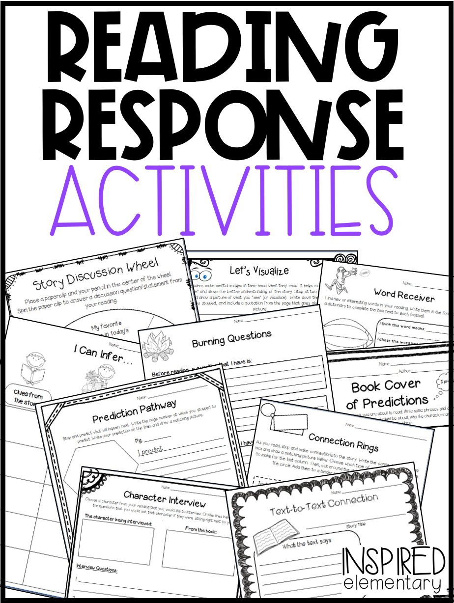 Reading Response Activities: Comprehension Pages \u0026 Book Activities! ·  Inspired Elementary   Reading response activities [ 1228 x 924 Pixel ]