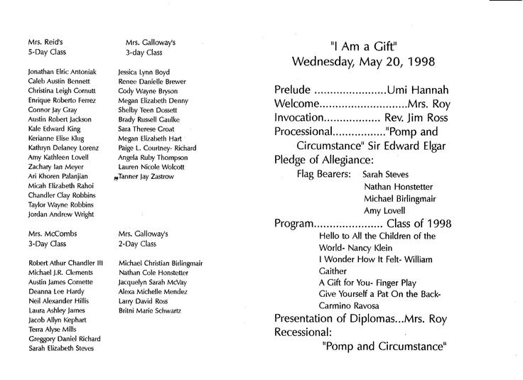 Image Result For Graduation Program Preschool  Graduation