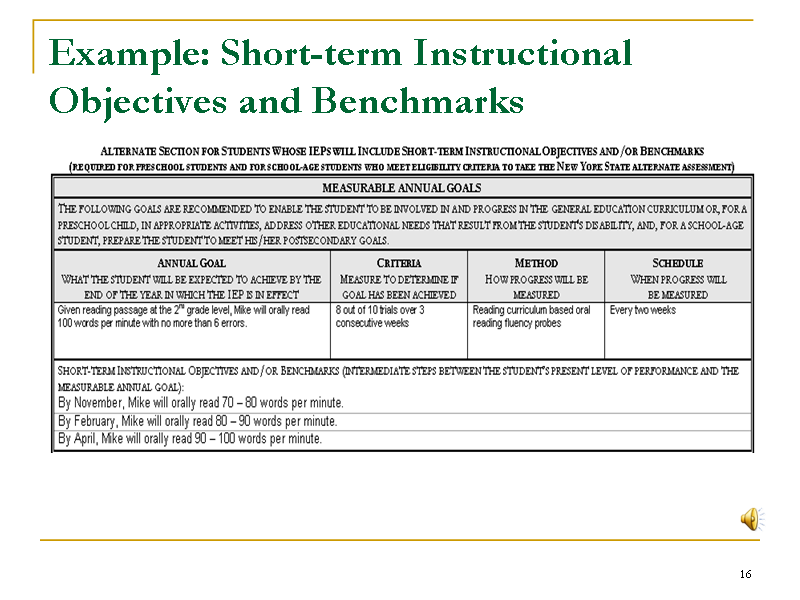 example short term instructional objectives and benchmarks