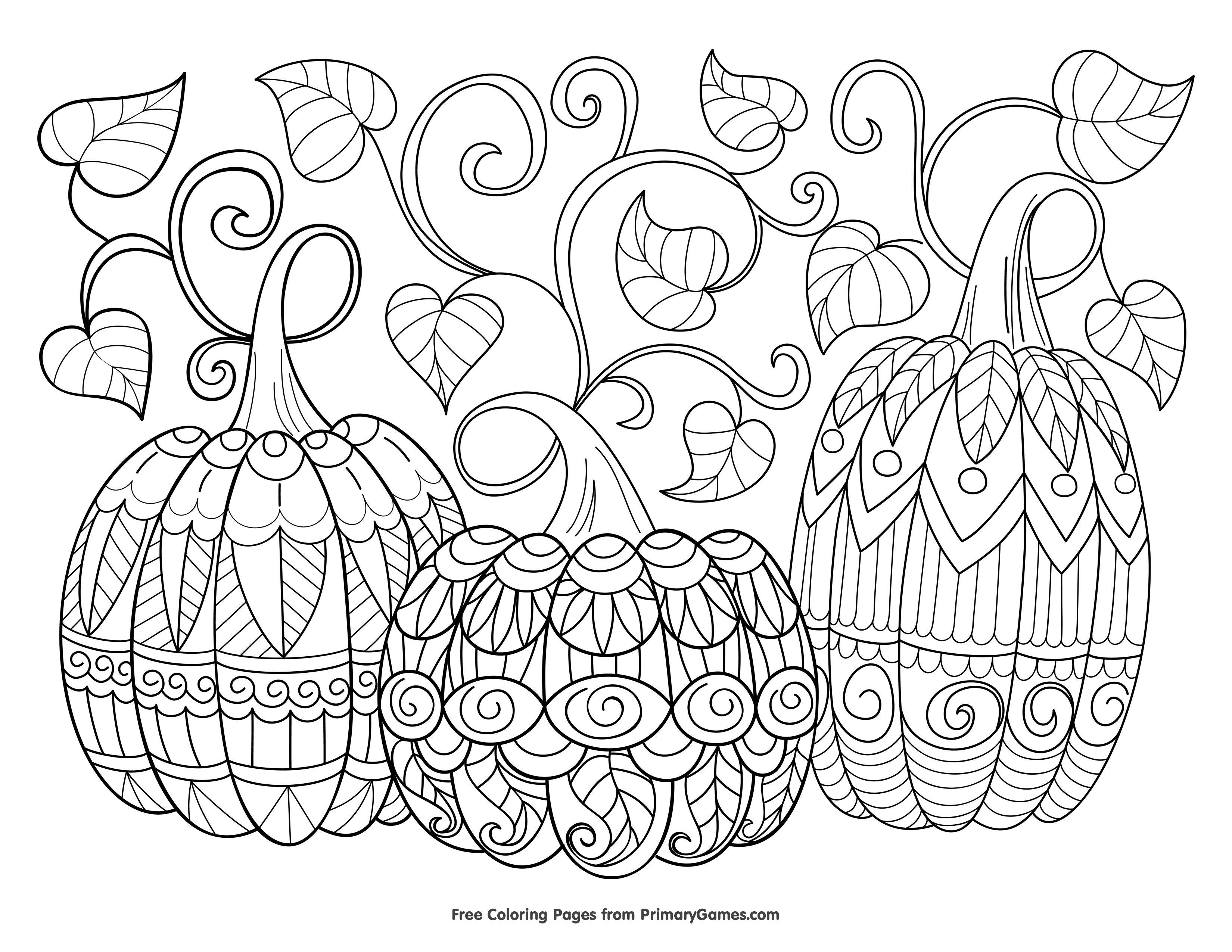 Three Pumpkins Coloring Page Free Printable Ebook Free