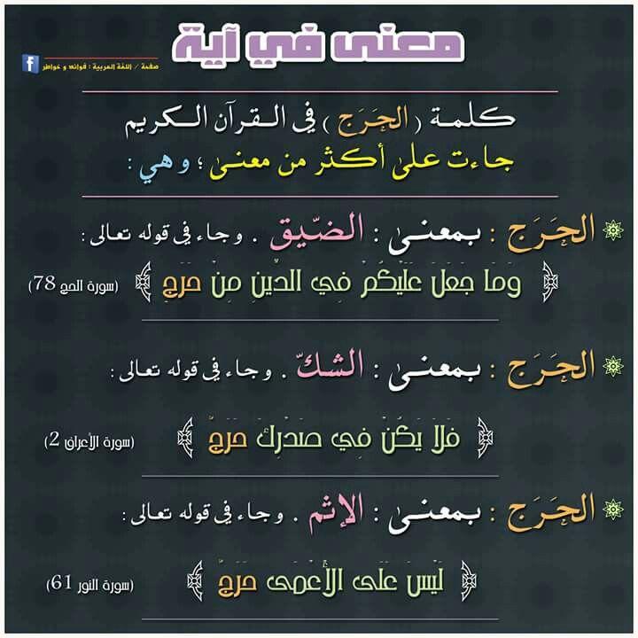 معاني الحرج في اللغة العربية التي وردت في القرآن الكريم Quran Verses Quran Beautiful Arabic Words