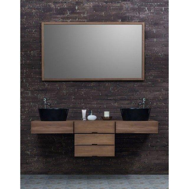 Ensemble de salle de bain en bois de teck avec 2 vasques et 1 miroir - Sol Teck Salle De Bain