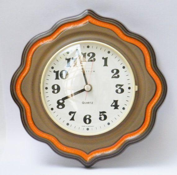 Vintage Mid Century Ceramic Kitchen Wall Clock By Hettich Brown Orange White