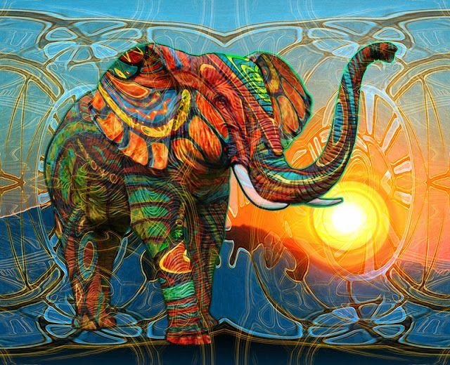 Feng Shui Elefante Para Atraer La Buena Suerte Al Hogar Arte De Elefante Elefante Colorido Pintura Con Diamantes