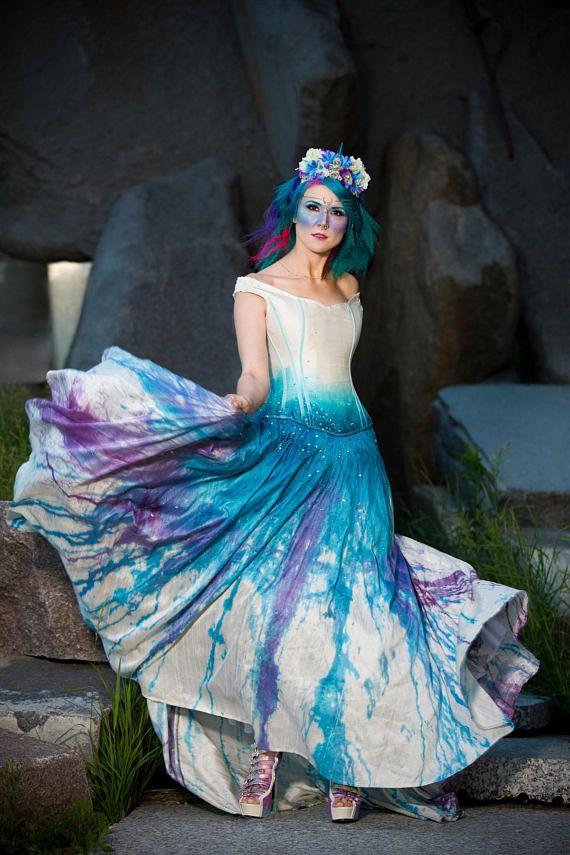 b35e075ee45 Galaxy Wedding Dress Splatter Paint Ombre Gown Starry