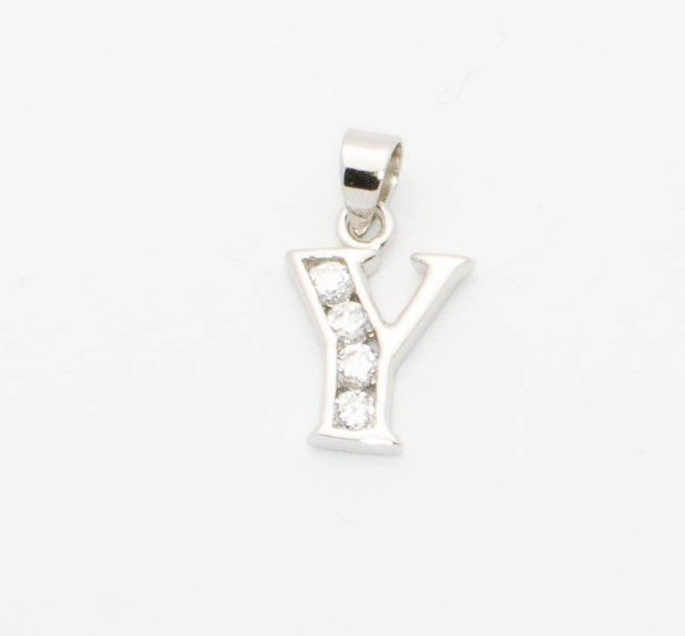 Initial Pendant Letter Y Block Style  Sterling Silver Mm