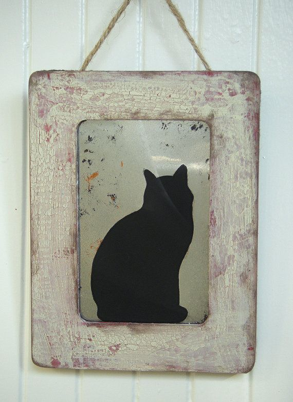 Black Cat Silhouette in Rustic Barn Red and by BusterJustis