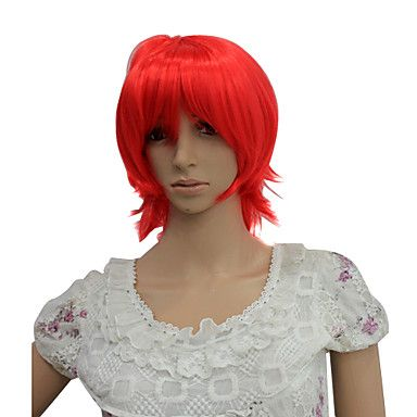 Capless Short High Temperature Wire Red Costume Party Wig