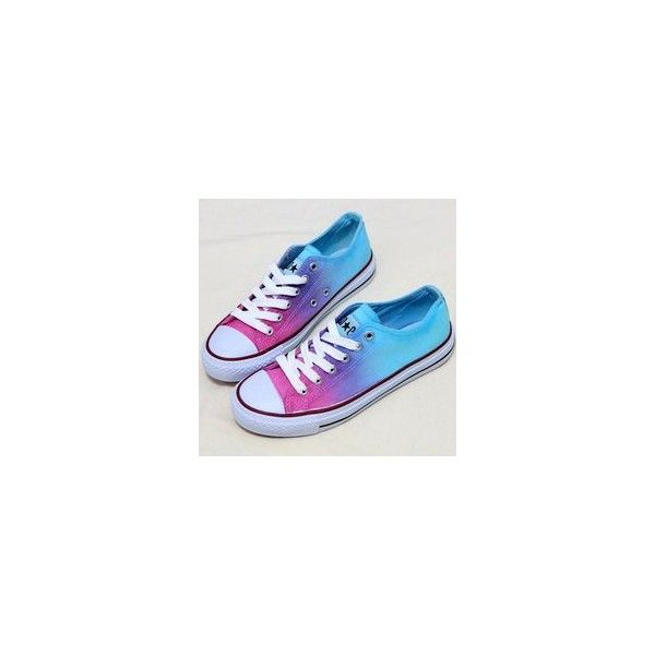 Tie Dye Ombre Canvas Shoes via Polyvore featuring shoes, tie dyed shoes, canvas shoes, canvas footwear, tie-dye shoes and ombre shoes