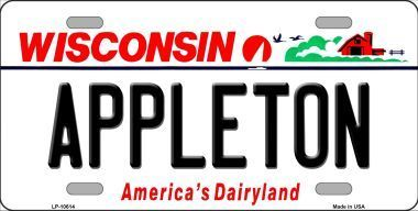Appleton Wisconsin Background Novelty Metal License Plate