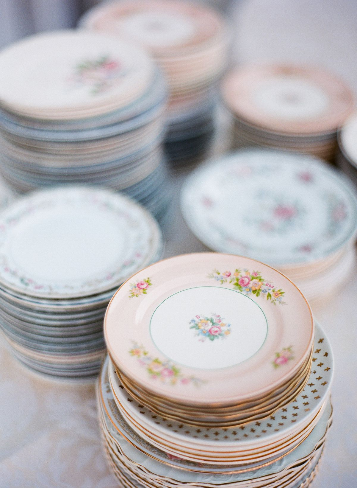 Cheekwood Botanical Garden Wedding Nashville Mismatched China Plates For Reception