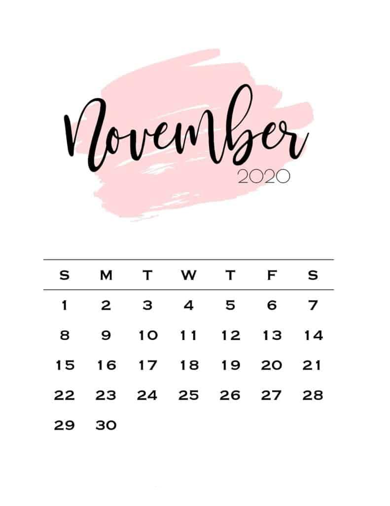 Cute November 2020 Calendar Wallpaper Printable Calendar