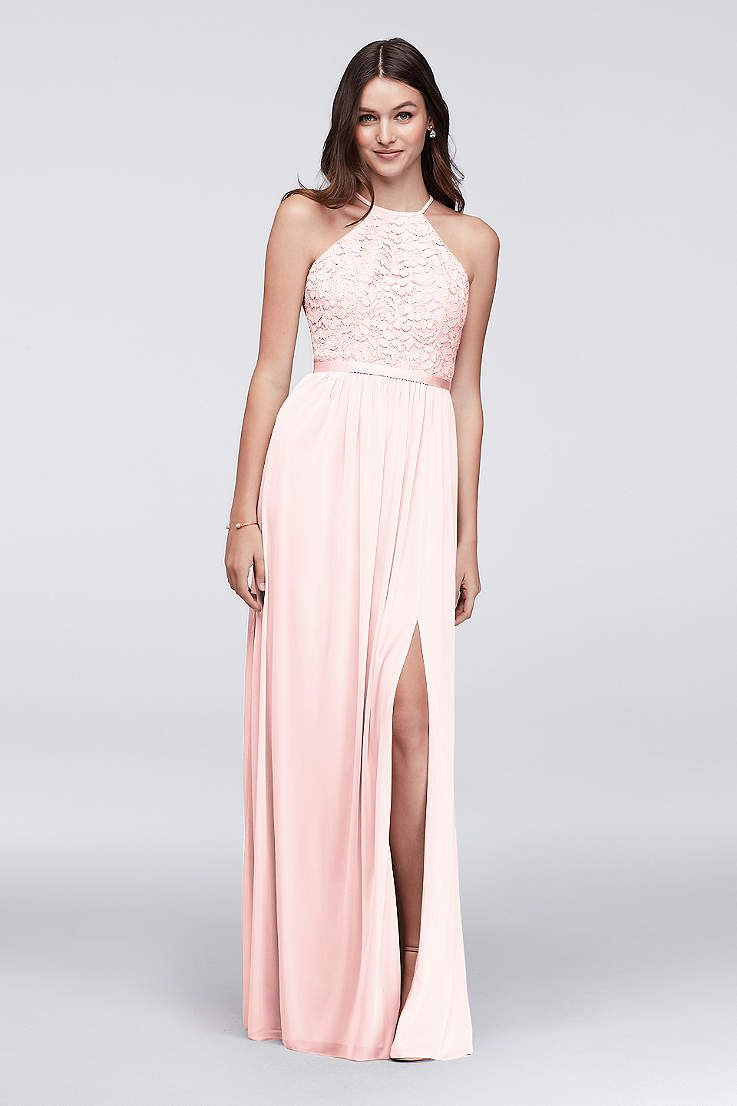 View halter high neck bridesmaid dress at davidus bridal wedding
