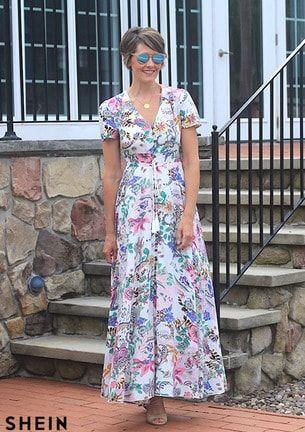 button split front flare maxi dress  shein con imágenes