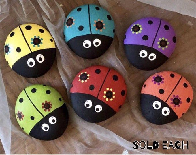 Big Bright Colorful Ladybug Painted Rock, Garden Stone, Home and Yard Decor, Garden Stone, Pet Rock SOLD EACH @TheDoodlingMoon