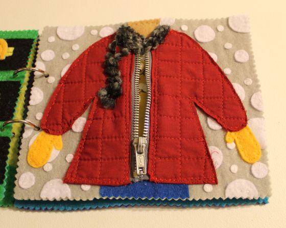cute zippered jacket quietbook kleidung pinterest spielb cher babyb cher und f hlbuch. Black Bedroom Furniture Sets. Home Design Ideas