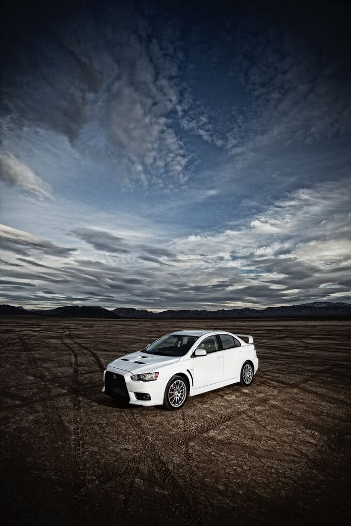 2010 Mitsubishi Lancer Evolution X in the desert