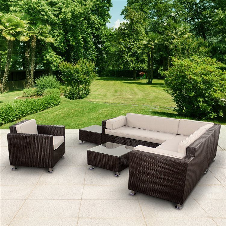 BillyOh Rosario Patio Sectional Sofa Set - 6-Seat Rattan Set in Dark Brown | BillyOh
