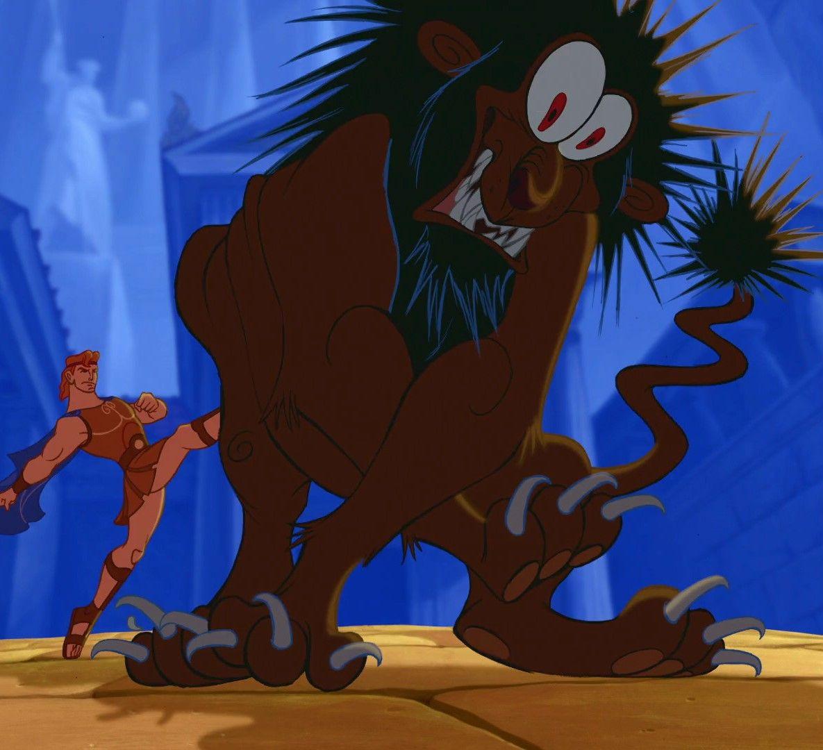 Hercules' kicking the Nemean lion   Disney   Pinterest   Hercules ...