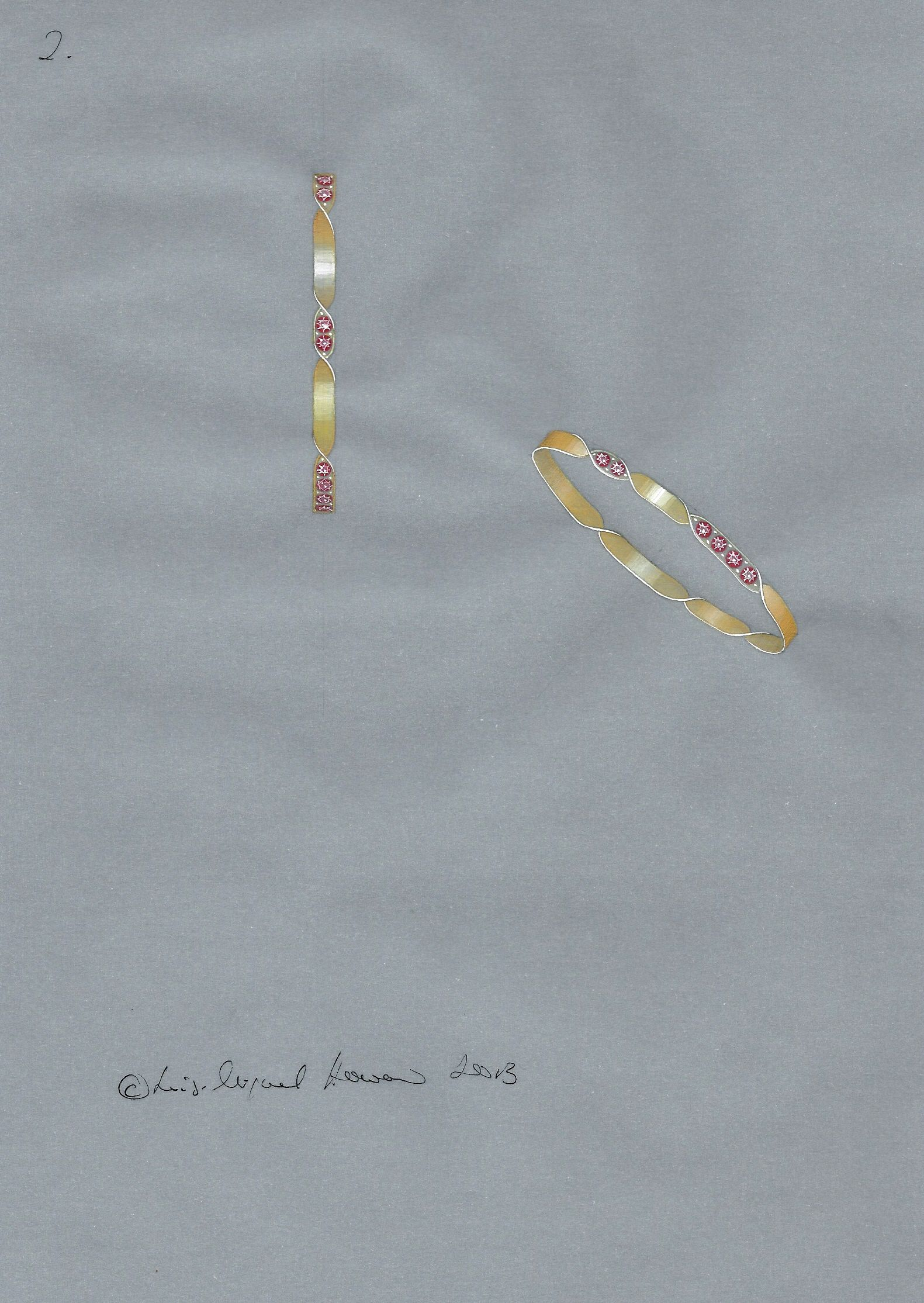 Design proposal in gouache for a gold and ruby bracelet jewellery
