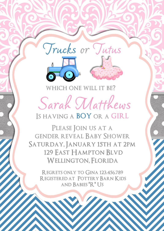 Gender Reveal Baby Shower Invitation Trucks or by 3PeasPrints ...