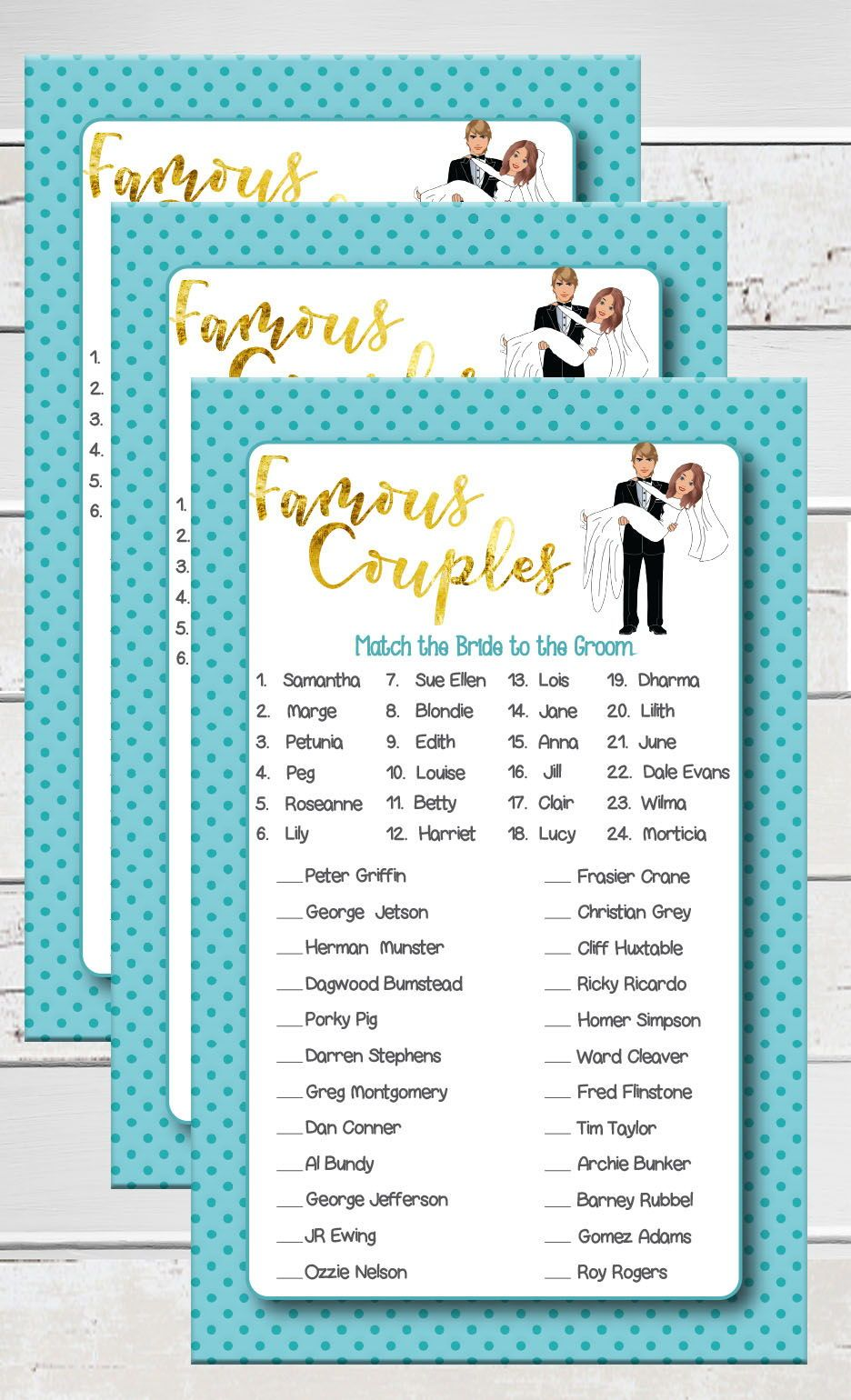 famous couples shower game fun game for engagement parties and couples showers teal poke a dots and gold accents with a groom holding a bride