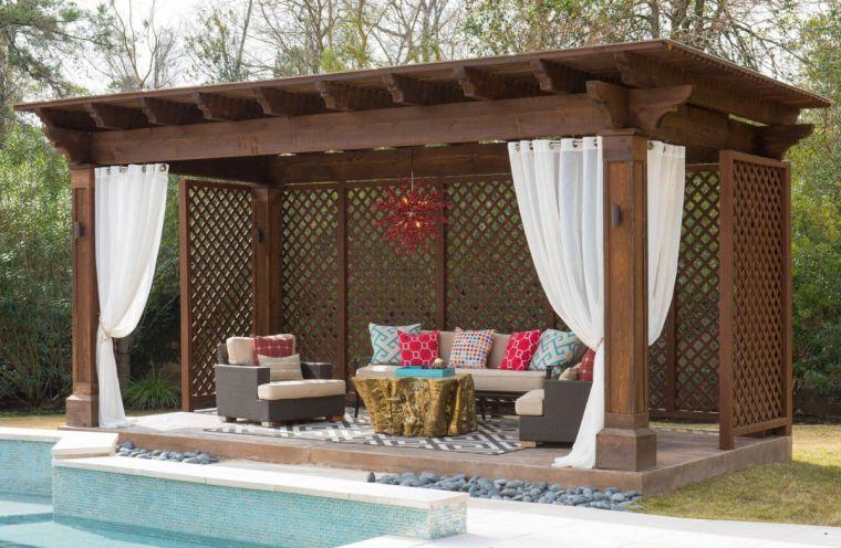 Gazébo et abri soleil  des idées pour jardin avec piscine - photo d amenagement piscine