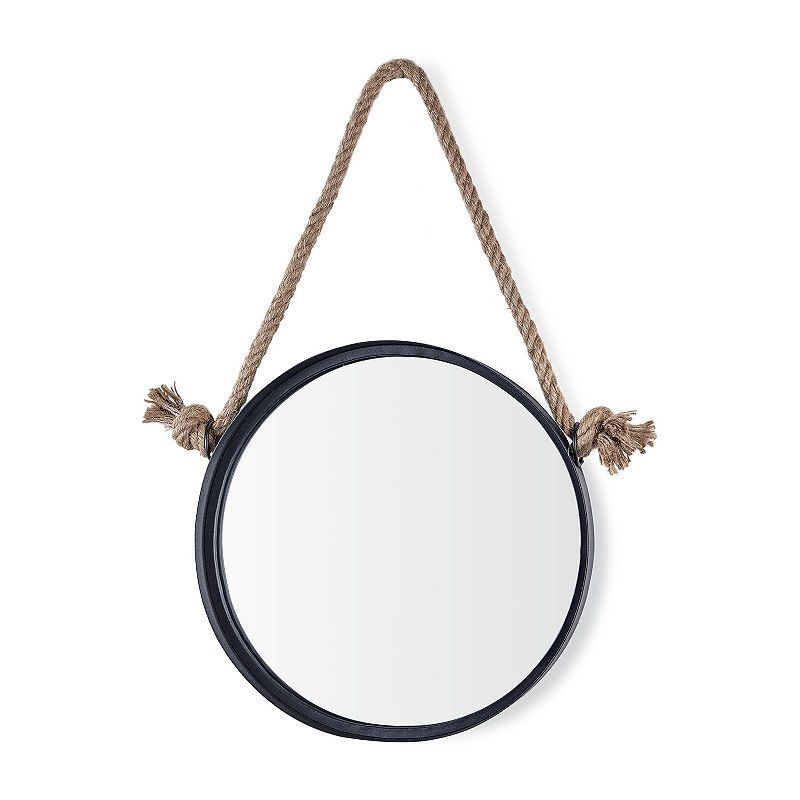 Danya B 15 Black Iron Framed Round Hanging Rope Wall Mirror Hanging Rope Black Iron Mirror Wall