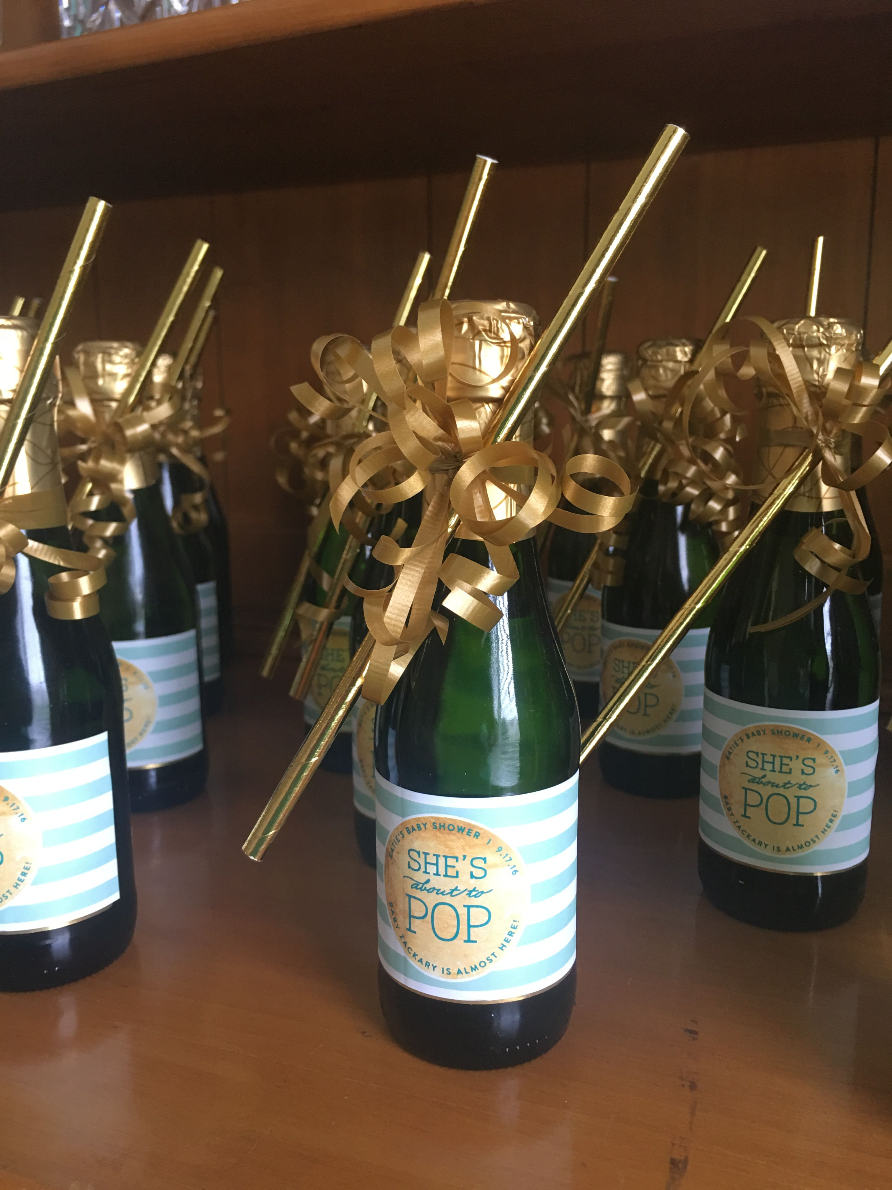 Ready To Pop Baby Shower Mini Champagne Bottle Favors