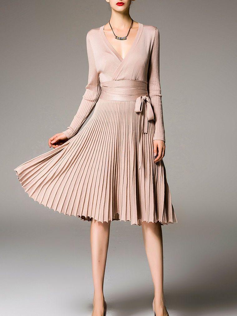 Beige Pleated Long Sleeve V Neck Midi Dress | Vestiditos, Ropa y Falda
