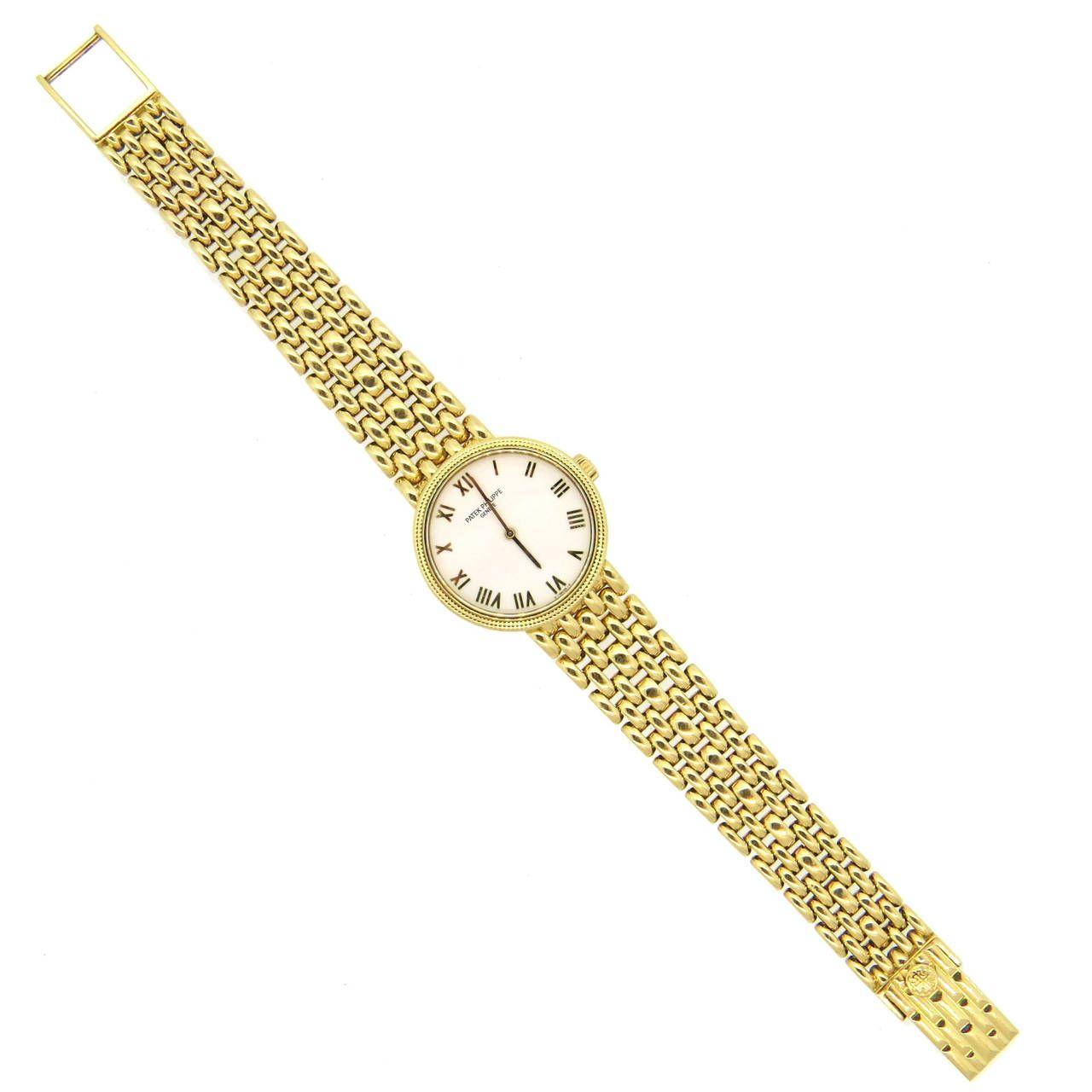 Patek philippe ladyus yellow gold calatrava wristwatch from a