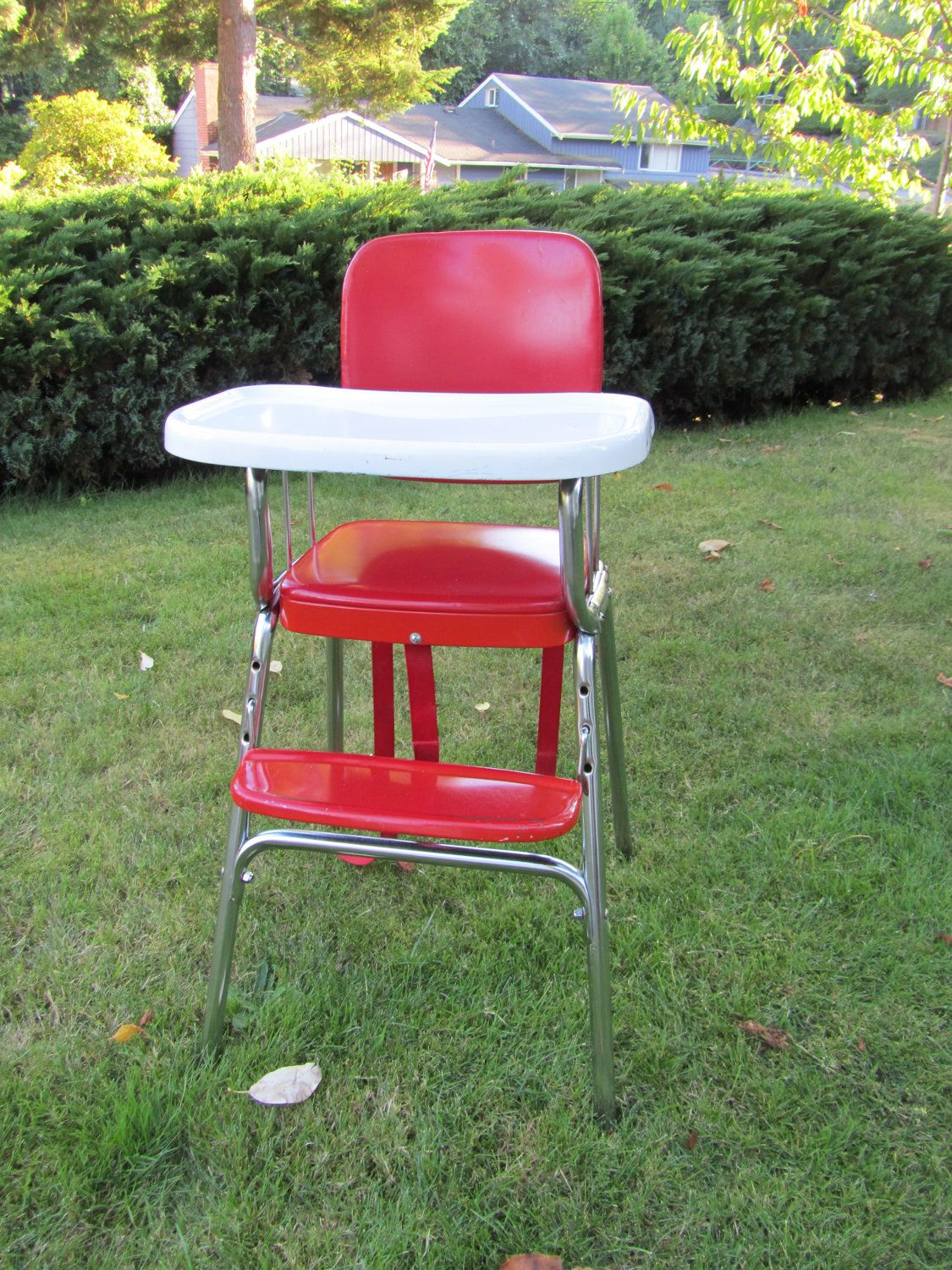 Antique metal high chair - High Chair 1950s Vintage Metal Cherry Red And White By Dipinti 100 00