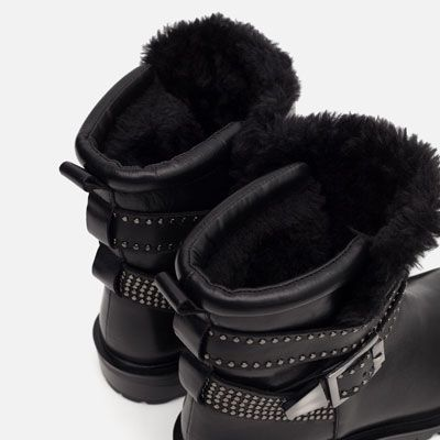 Image 2 of LEATHER BIKER ANKLE BOOTS WITH STRAPS from Zara